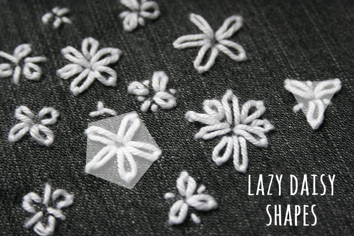 Embroidery: lazy daisy shapes