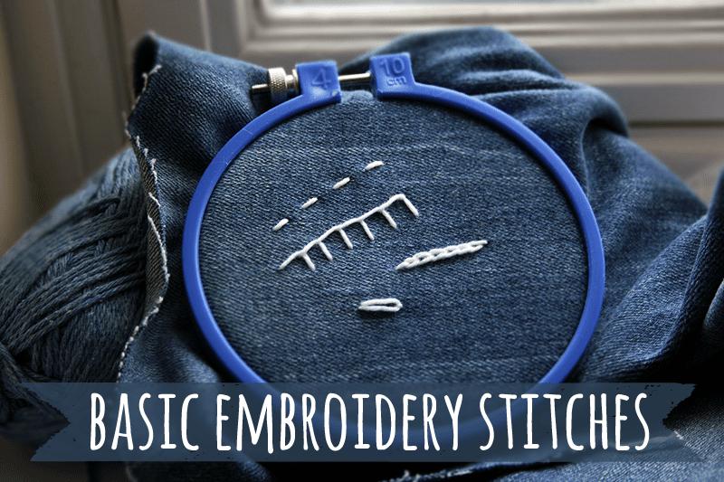 Basic embroidery stitches: running stitch, blanket stitch, lazy daisy stitch, and chain stitch