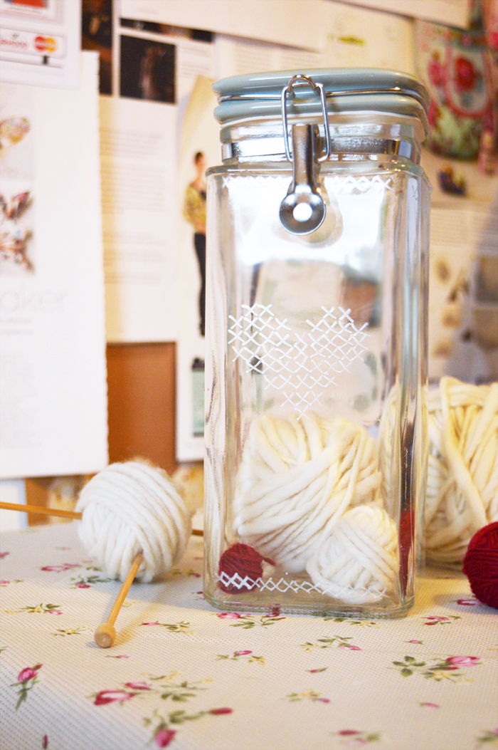 Faux cross stitch storage jar | Crafting Fingers