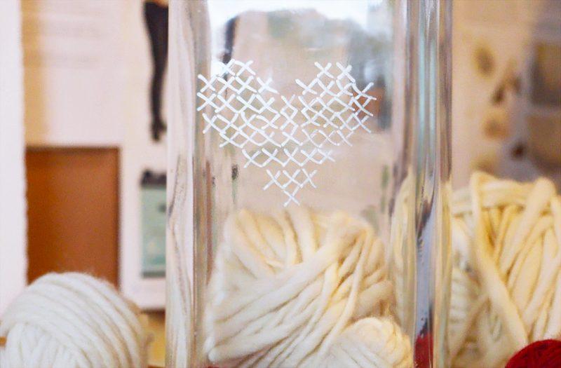 Faux cross stitch storage jar | Crafting Fingers