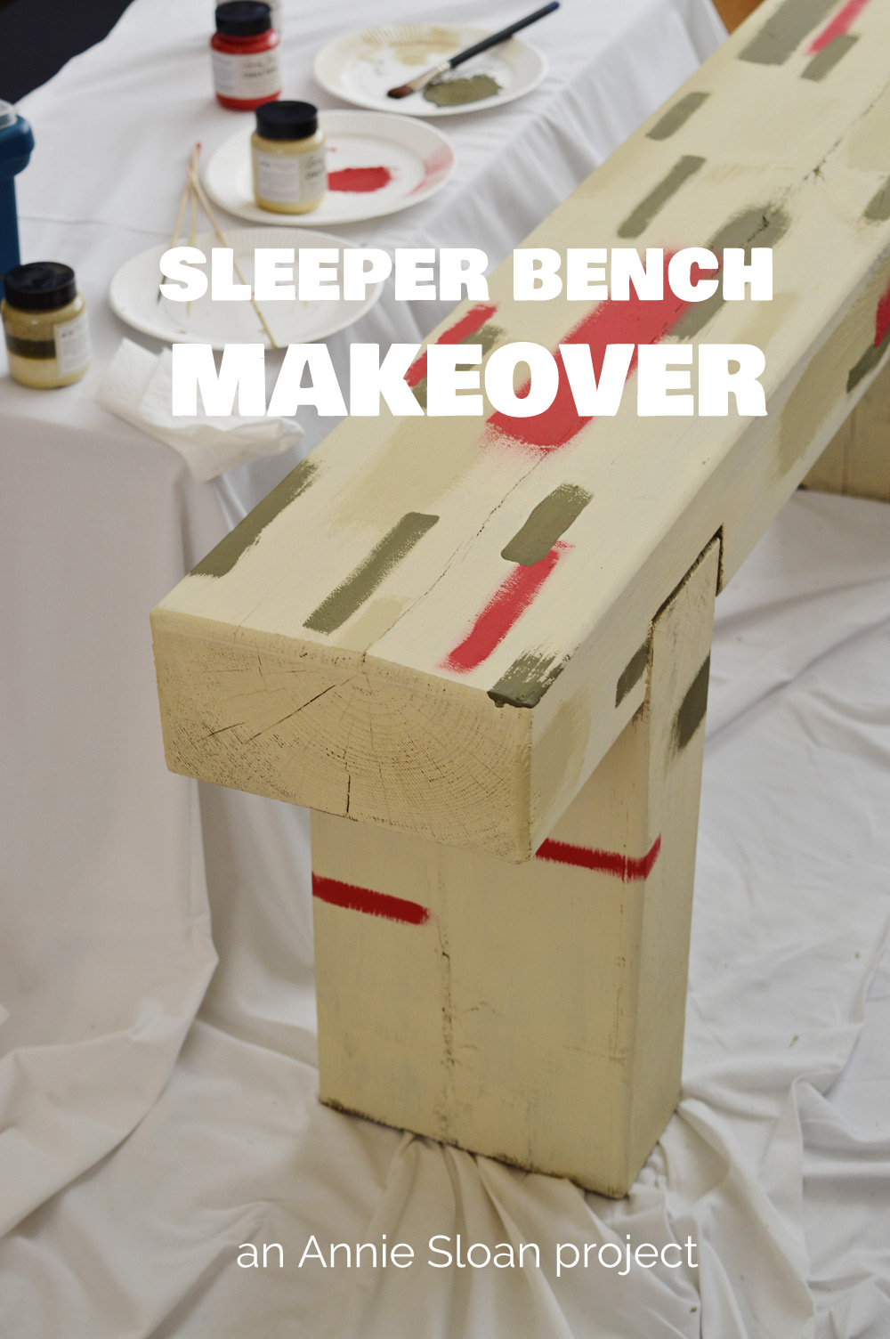 Annie Sloan sleeper bench makeover