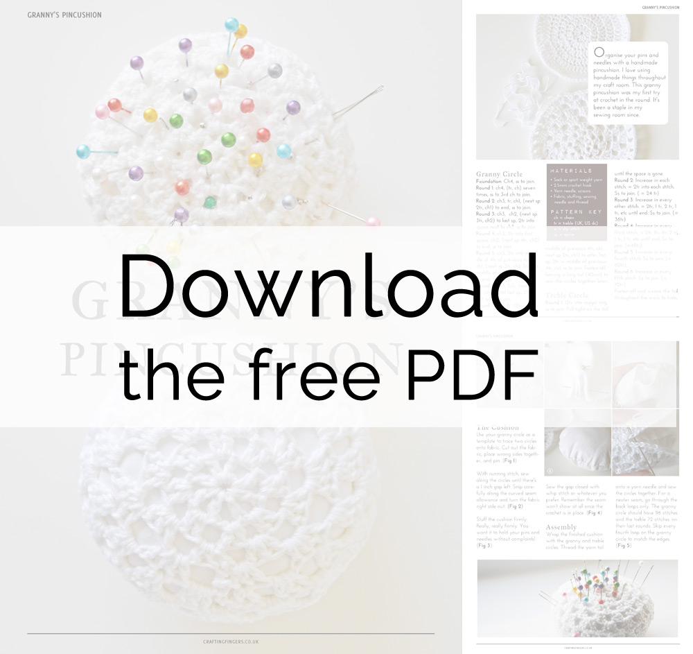 Free PDF - DIY crochet pincushion tutorial + pattern