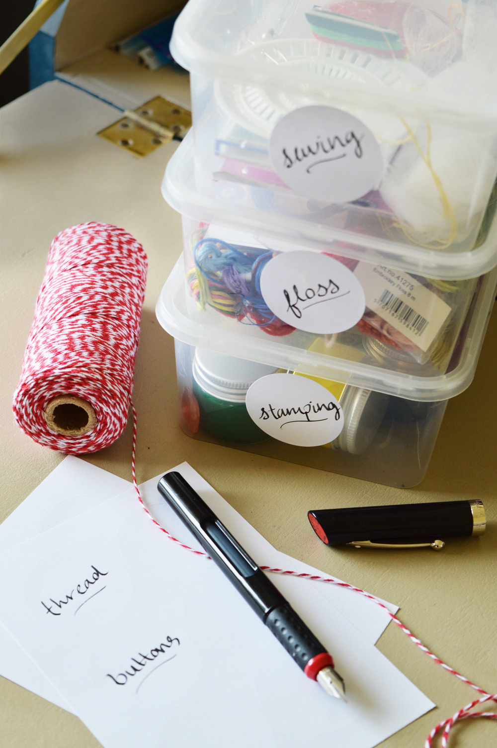 Organising craft materials with handwritten labels
