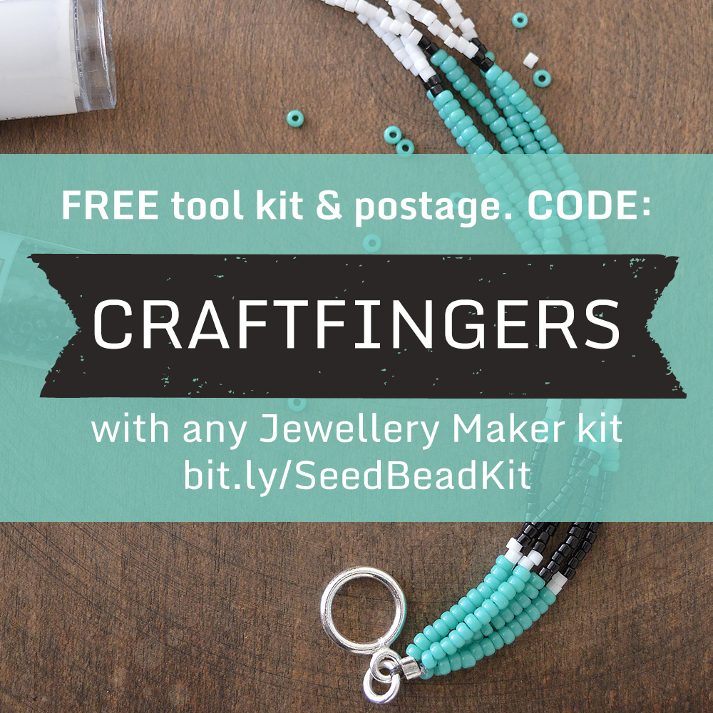 Get a FREE tool kit from Jewellery Maker with code CRAFTFINGERS when you buy any DIY kit.